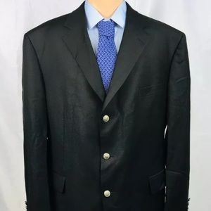 Samuelsohn Black Wool Metal Button Blazer 48L